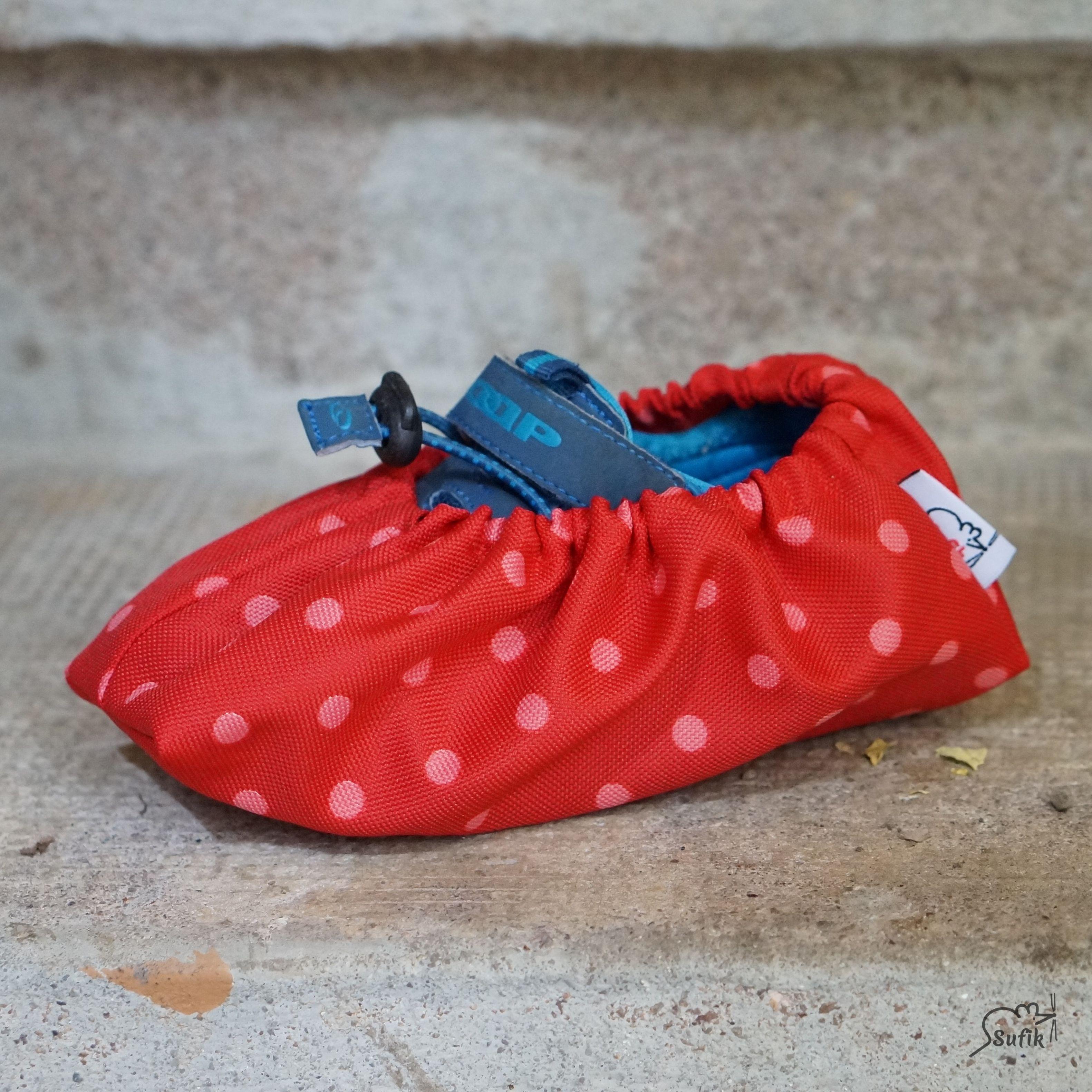 Návleky na boty 19-24 červená puntík  aebed10d05